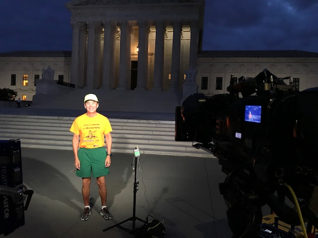 Morgan in front of TV news crew at the Supreme Court the first Monday in October 2019.